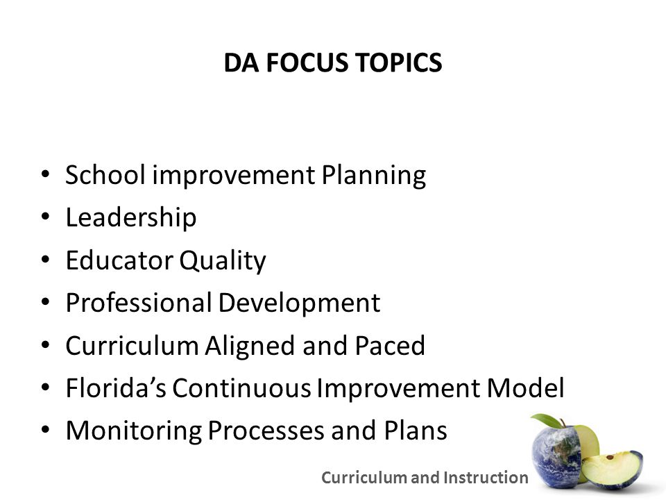 DA FOCUS TOPICS School improvement Planning Leadership Educator Quality Professional Development Curriculum Aligned and Paced Florida's Continuous Improvement Model Monitoring Processes and Plans Curriculum and Instruction