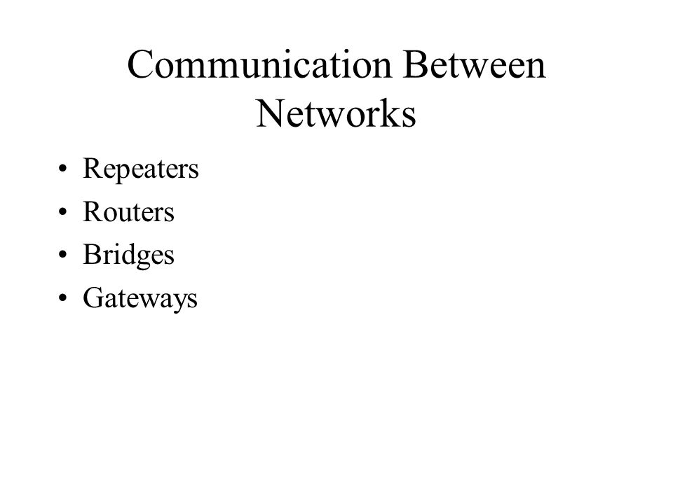 Communication Between Networks Repeaters Routers Bridges Gateways