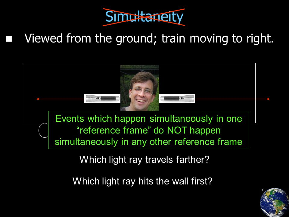 Simultaneity Viewed from the ground; train moving to right.