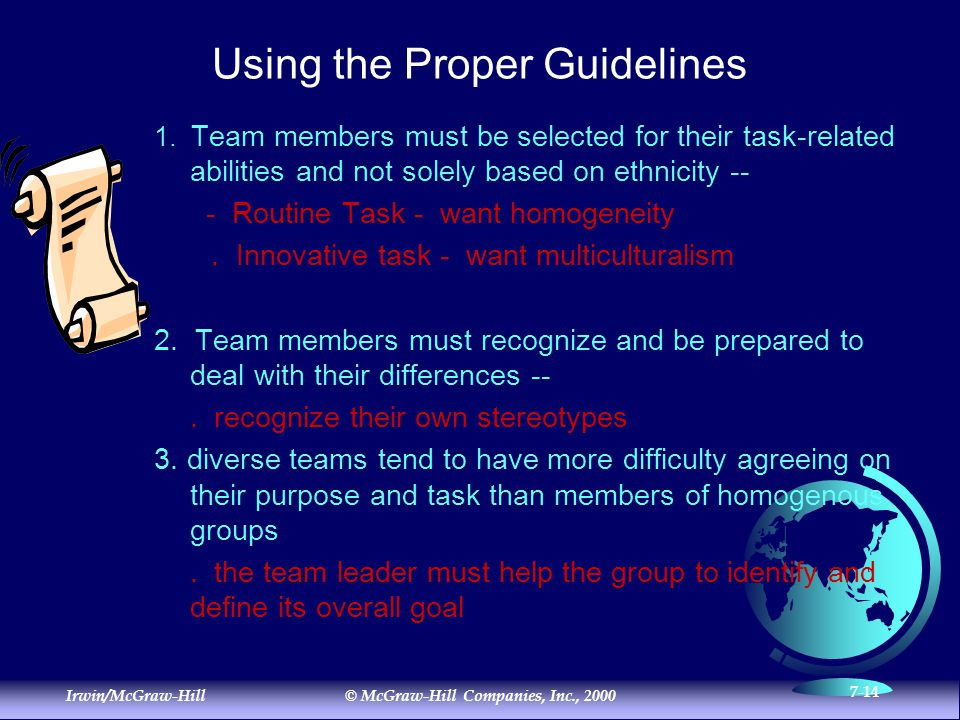 Irwin/McGraw-Hill© McGraw-Hill Companies, Inc., 2000 7-14 Using the Proper Guidelines 1.