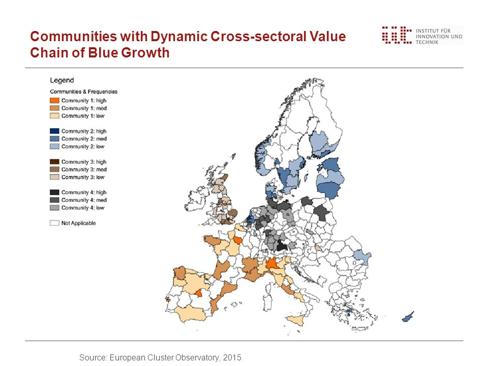 Communities with Dynamic Cross-sectoral Value Chain of Blue Growth Source: European Cluster Observatory, 2015