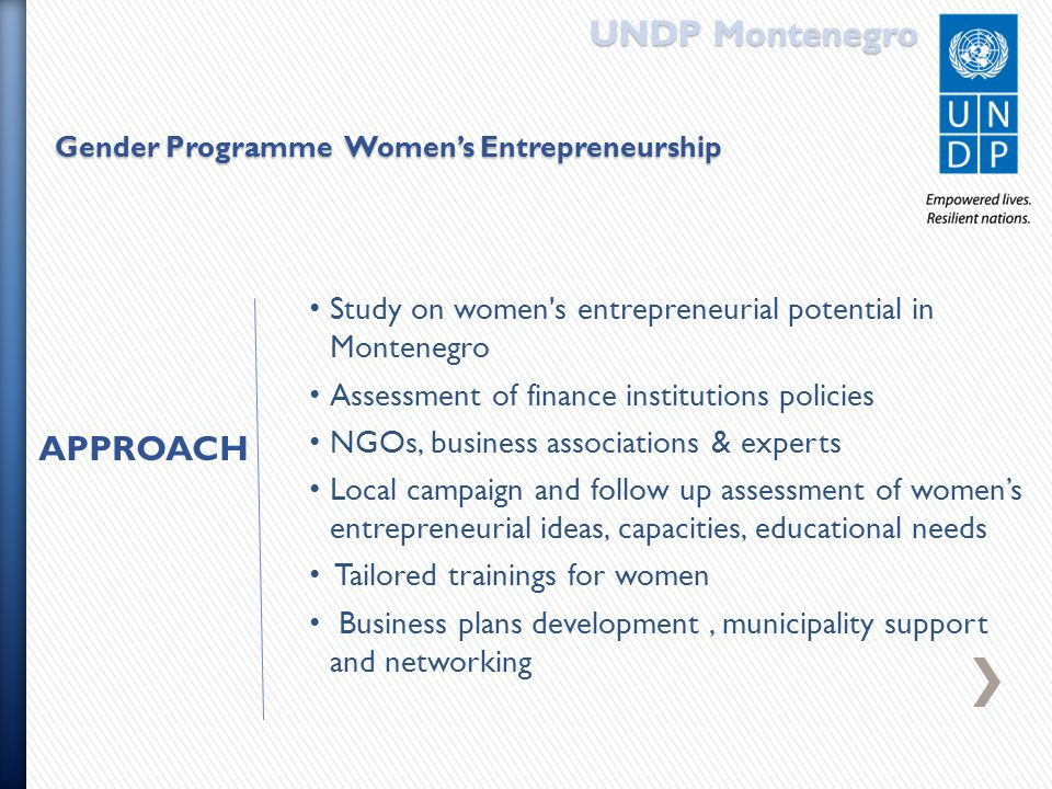 UNDP Montenegro Gender Programme Women's Entrepreneurship Study on women s entrepreneurial potential in Montenegro Assessment of finance institutions policies NGOs, business associations & experts Local campaign and follow up assessment of women's entrepreneurial ideas, capacities, educational needs Tailored trainings for women Business plans development, municipality support and networking APPROACH