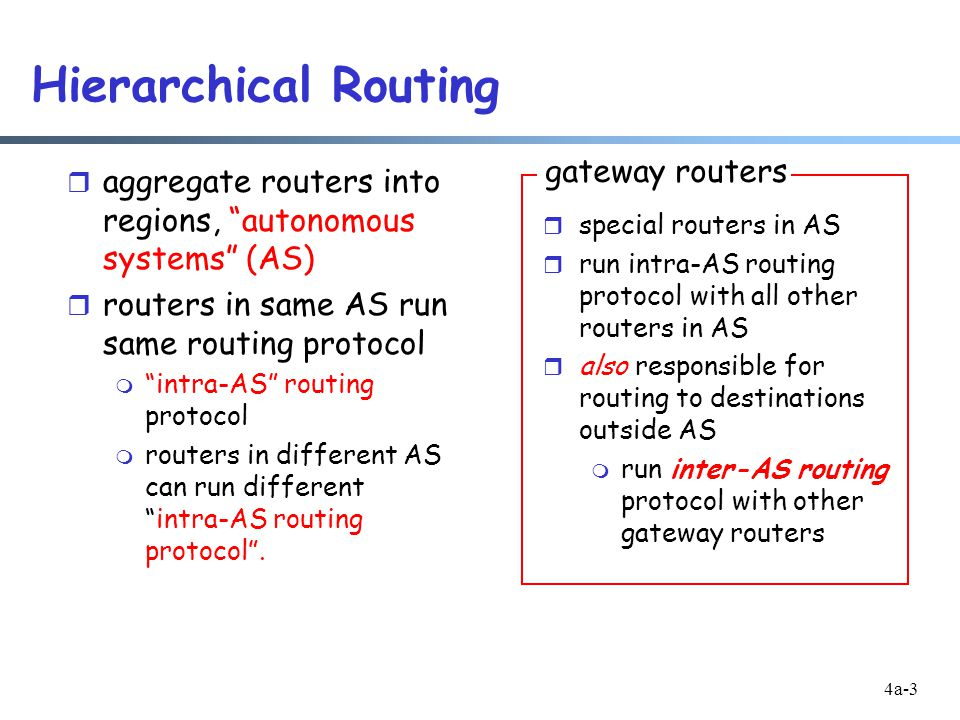 4a-3 Hierarchical Routing r aggregate routers into regions, autonomous systems (AS) r routers in same AS run same routing protocol m intra-AS routing protocol m routers in different AS can run different intra-AS routing protocol .