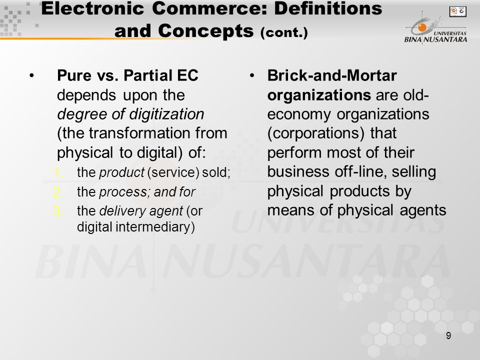 9 Electronic Commerce: Definitions and Concepts (cont.) Pure vs.