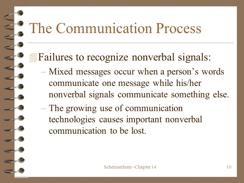 Schermerhorn - Chapter 1410 The Communication Process 4 Failures to recognize nonverbal signals: –Mixed messages occur when a person's words communicate one message while his/her nonverbal signals communicate something else.