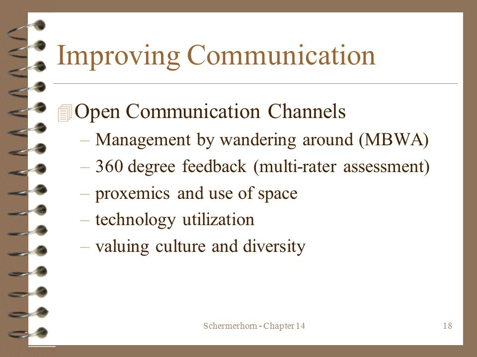 Schermerhorn - Chapter 1418 Improving Communication 4 Open Communication Channels –Management by wandering around (MBWA) –360 degree feedback (multi-rater assessment) –proxemics and use of space –technology utilization –valuing culture and diversity