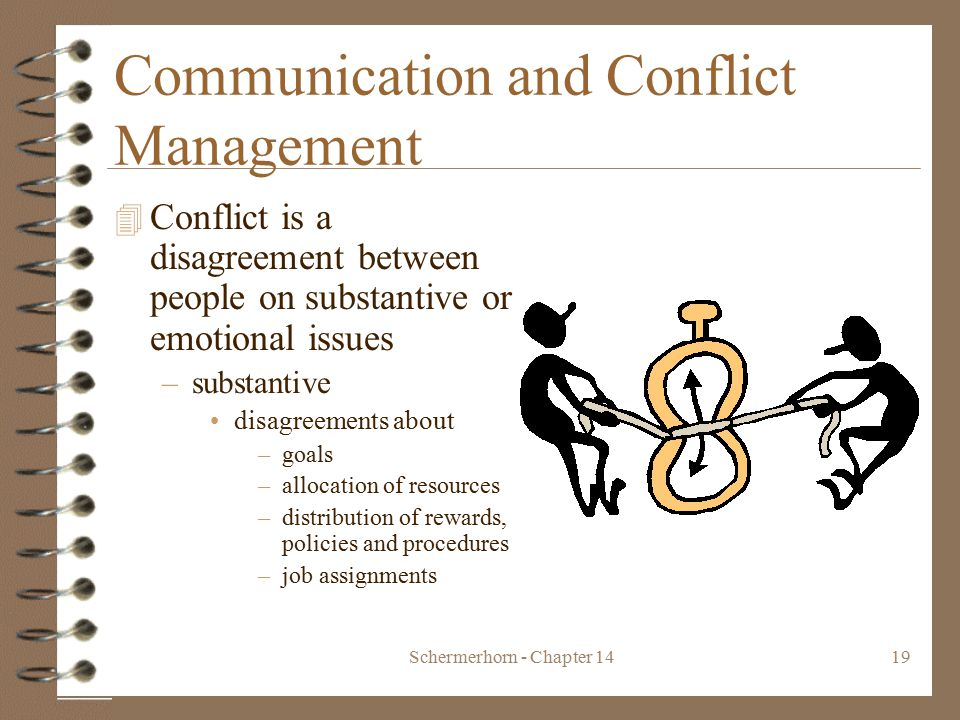 Schermerhorn - Chapter 1419 Communication and Conflict Management 4 Conflict is a disagreement between people on substantive or emotional issues –substantive disagreements about –goals –allocation of resources –distribution of rewards, policies and procedures –job assignments