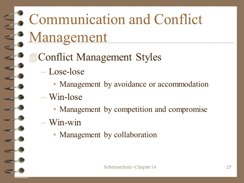 Schermerhorn - Chapter 1425 Communication and Conflict Management 4 Conflict Management Styles –Lose-lose Management by avoidance or accommodation –Win-lose Management by competition and compromise –Win-win Management by collaboration