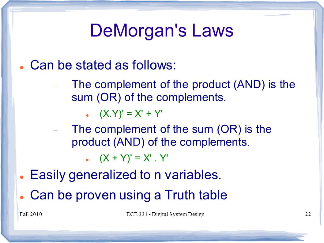 Fall 2010ECE Digital System Design22 DeMorgan s Laws Can be stated as follows:  The complement of the product (AND) is the sum (OR) of the complements.