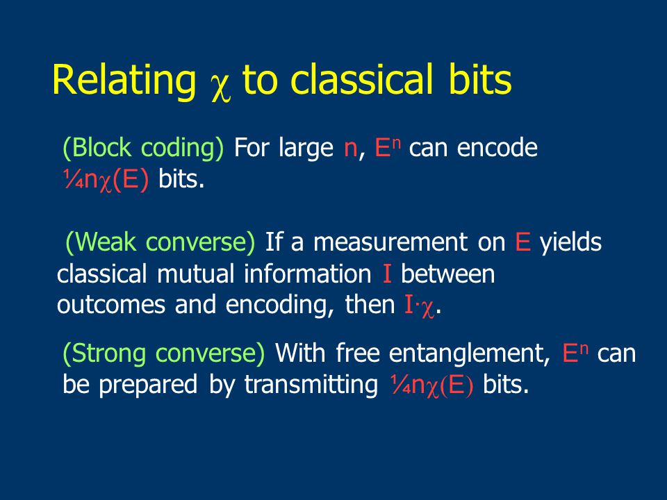 Relating  to classical bits (Weak converse) If a measurement on E yields classical mutual information I between outcomes and encoding, then I · .