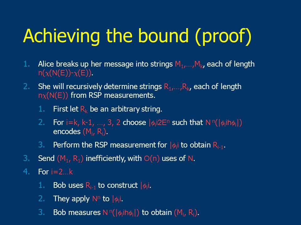 Achieving the bound (proof) 1.