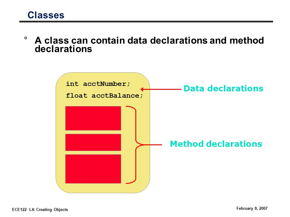 ECE122 L4: Creating Objects February 8, 2007 Classes °A class can contain data declarations and method declarations int acctNumber; float acctBalance; Data declarations Method declarations