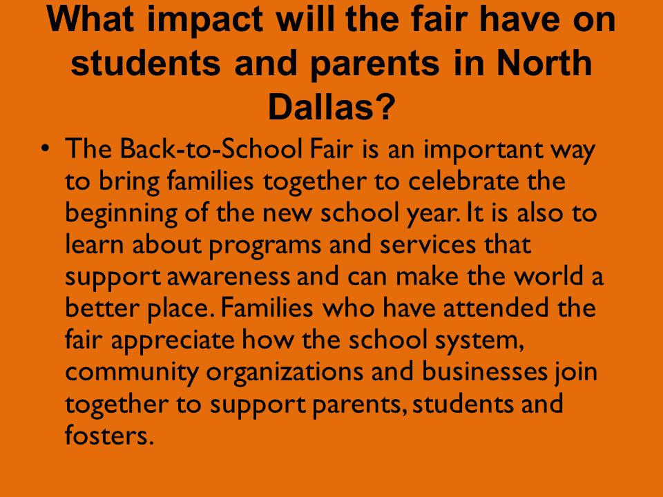 What impact will the fair have on students and parents in North Dallas.