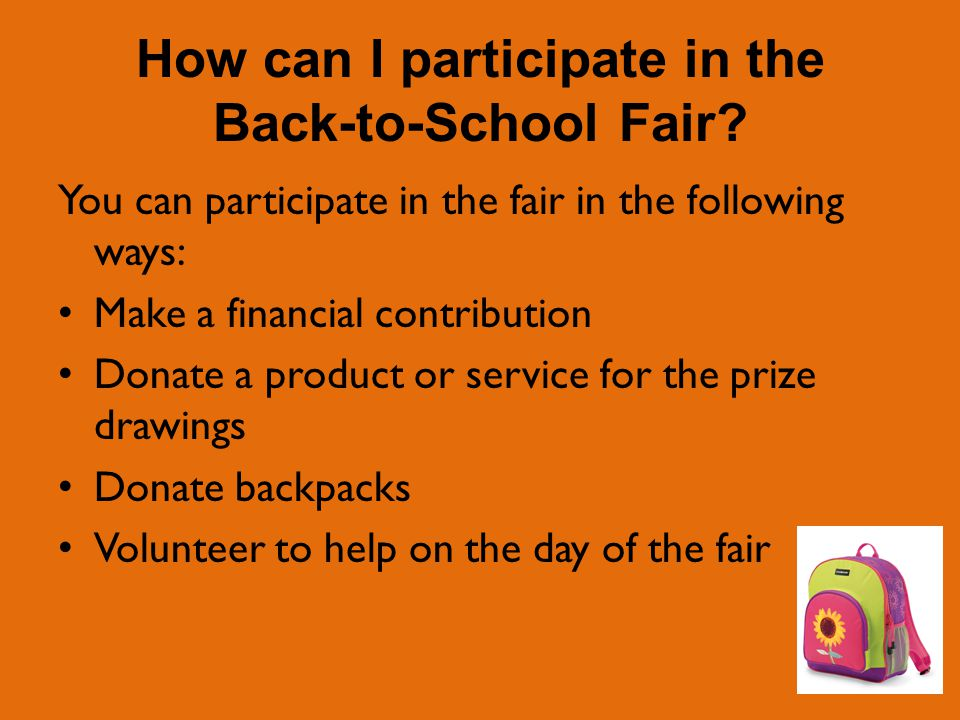 How can I participate in the Back-to-School Fair.