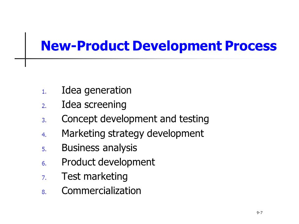 New-Product Development Process 1. Idea generation 2.
