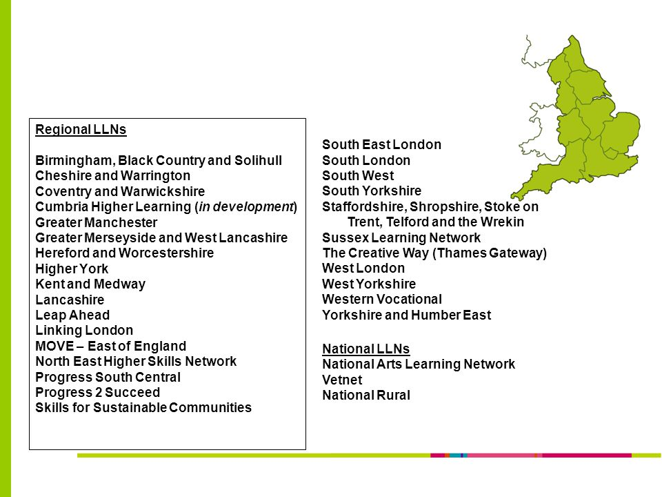 Regional LLNs Birmingham, Black Country and Solihull Cheshire and Warrington Coventry and Warwickshire Cumbria Higher Learning (in development) Greater Manchester Greater Merseyside and West Lancashire Hereford and Worcestershire Higher York Kent and Medway Lancashire Leap Ahead Linking London MOVE – East of England North East Higher Skills Network Progress South Central Progress 2 Succeed Skills for Sustainable Communities South East London South London South West South Yorkshire Staffordshire, Shropshire, Stoke on Trent, Telford and the Wrekin Sussex Learning Network The Creative Way (Thames Gateway) West London West Yorkshire Western Vocational Yorkshire and Humber East National LLNs National Arts Learning Network Vetnet National Rural