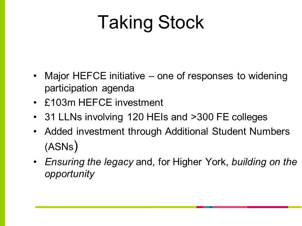 Taking Stock Major HEFCE initiative – one of responses to widening participation agenda £103m HEFCE investment 31 LLNs involving 120 HEIs and >300 FE colleges Added investment through Additional Student Numbers (ASNs ) Ensuring the legacy and, for Higher York, building on the opportunity