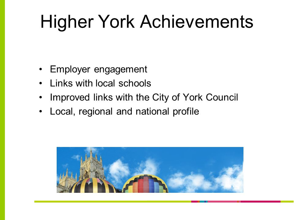 Higher York Achievements Employer engagement Links with local schools Improved links with the City of York Council Local, regional and national profile