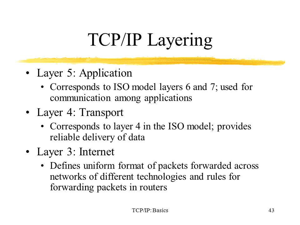 TCP/IP: Basics43 TCP/IP Layering Layer 5: Application Corresponds to ISO model layers 6 and 7; used for communication among applications Layer 4: Transport Corresponds to layer 4 in the ISO model; provides reliable delivery of data Layer 3: Internet Defines uniform format of packets forwarded across networks of different technologies and rules for forwarding packets in routers