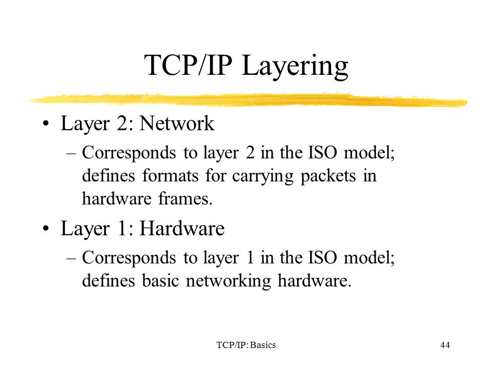 TCP/IP: Basics44 TCP/IP Layering Layer 2: Network –Corresponds to layer 2 in the ISO model; defines formats for carrying packets in hardware frames.