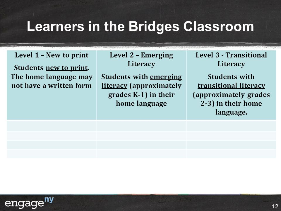 Learners in the Bridges Classroom 12 Level 1 – New to print Students new to print.