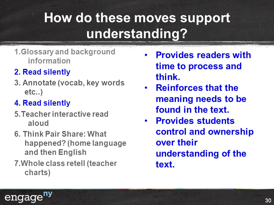 How do these moves support understanding. 1.Glossary and background information 2.
