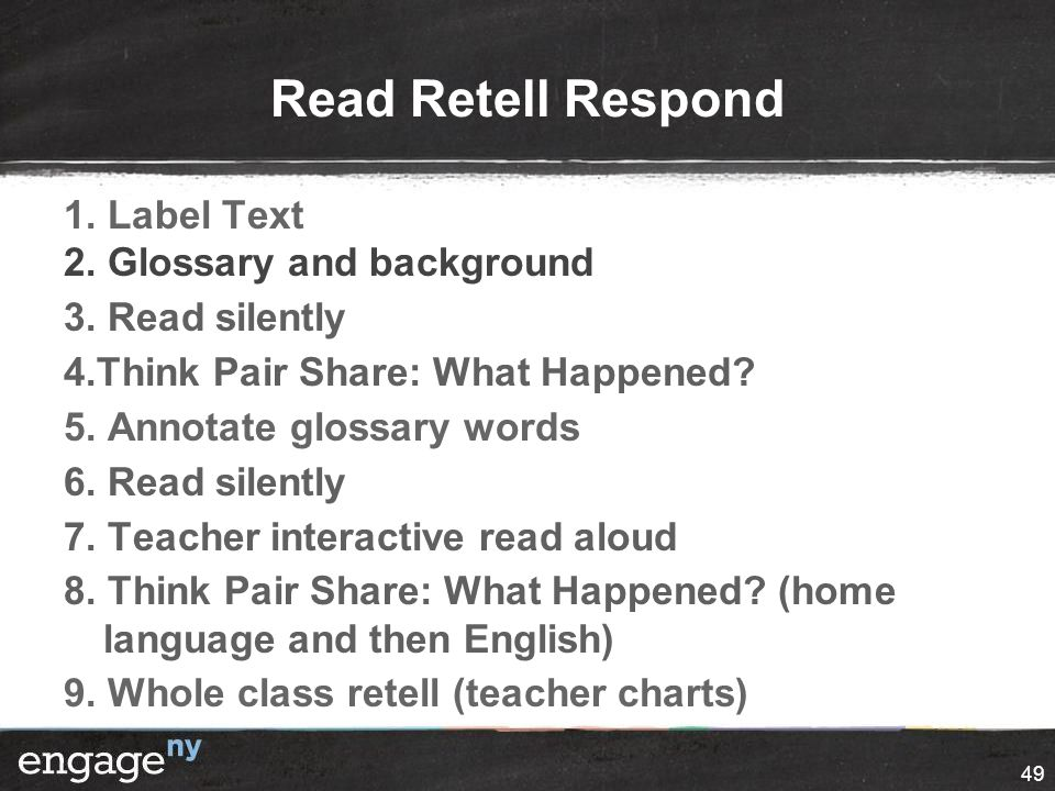 Read Retell Respond 1. Label Text 2. Glossary and background 3.