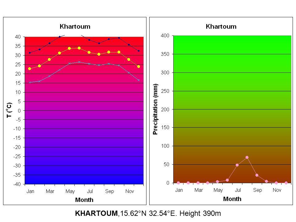 KHARTOUM,15.62°N 32.54°E. Height 390m