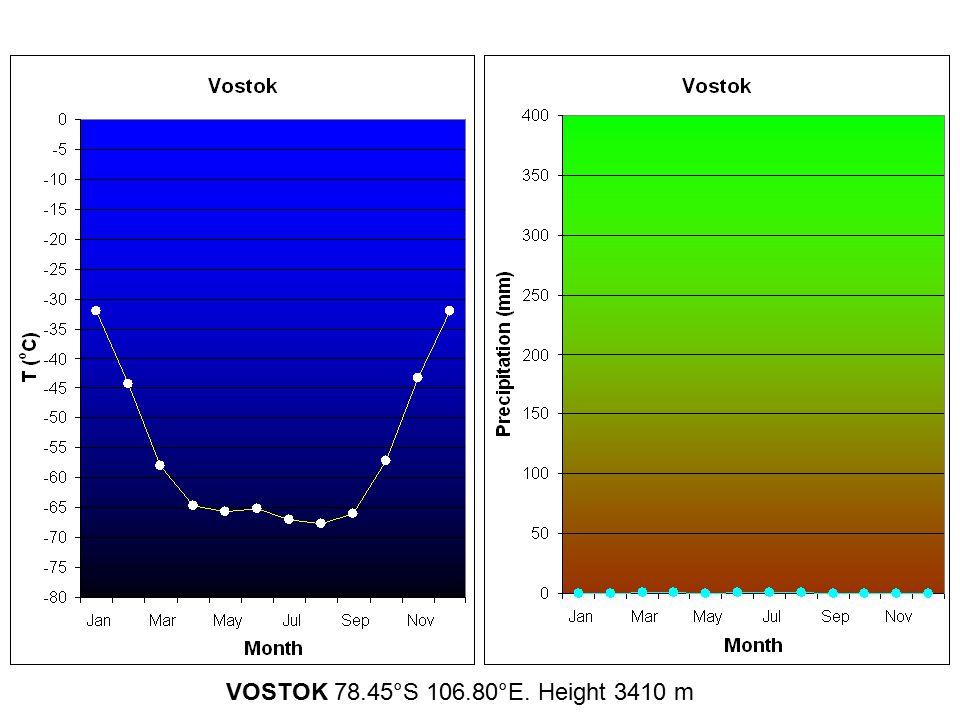 VOSTOK 78.45°S 106.80°E. Height 3410 m