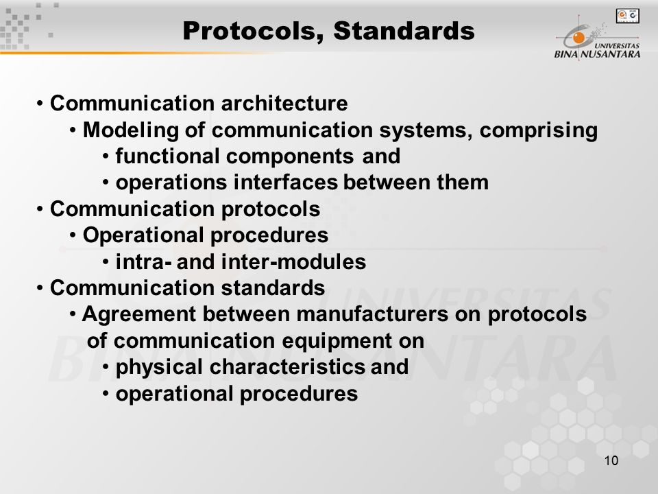 10 Protocols, Standards Communication architecture Modeling of communication systems, comprising functional components and operations interfaces between them Communication protocols Operational procedures intra- and inter-modules Communication standards Agreement between manufacturers on protocols of communication equipment on physical characteristics and operational procedures