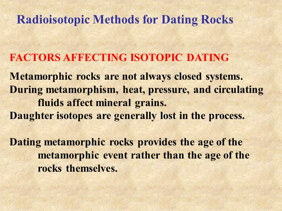 Radiometric dating of metamorphic rocks examples