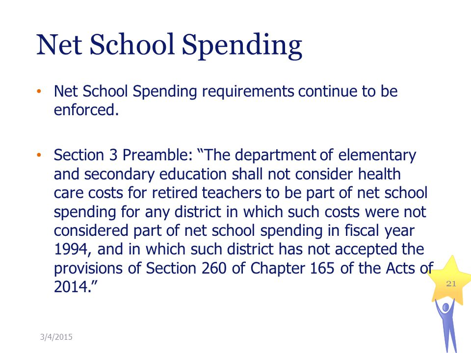 Net School Spending 21 Net School Spending requirements continue to be enforced.