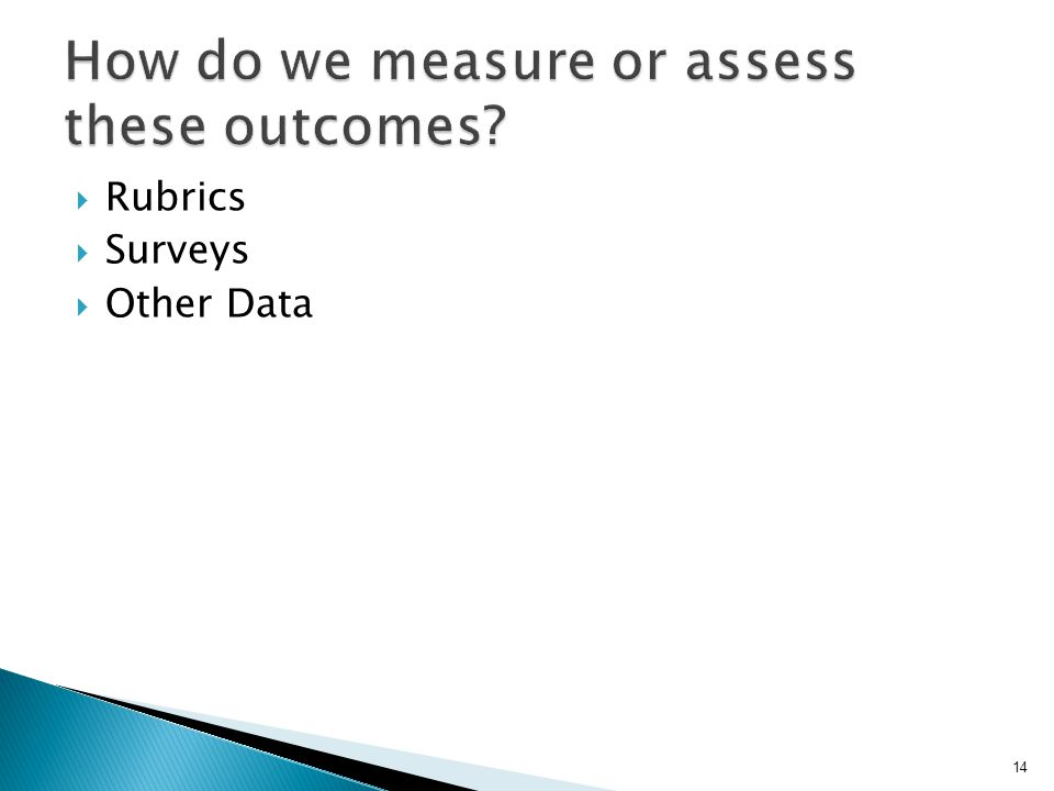  Rubrics  Surveys  Other Data 14