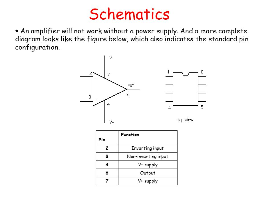 Schematics  An amplifier will not work without a power supply.