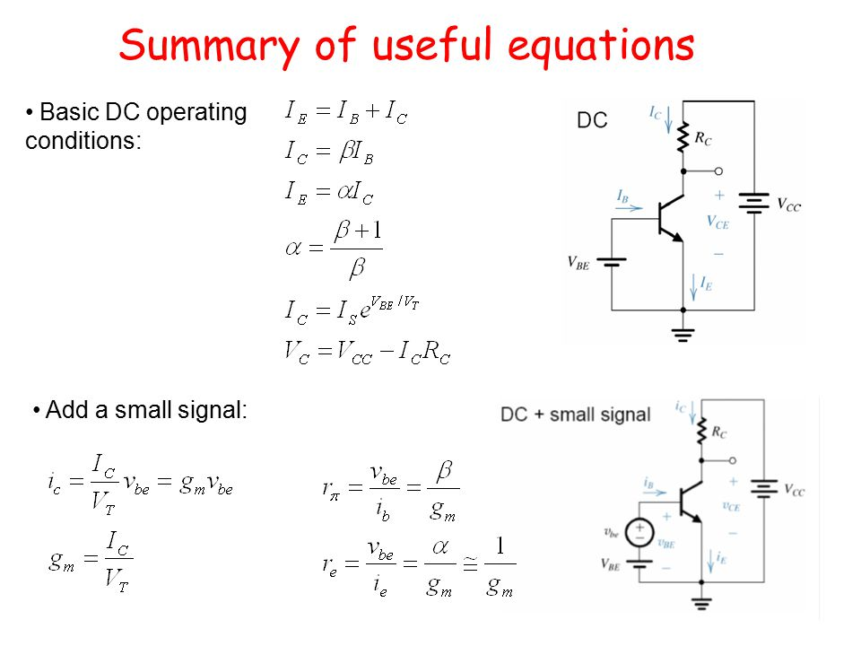 Summary of useful equations Basic DC operating conditions: Add a small signal: