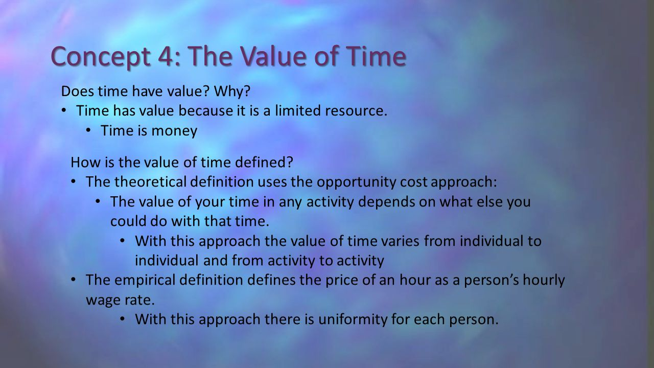 Concept 4: The Value of Time Does time have value.