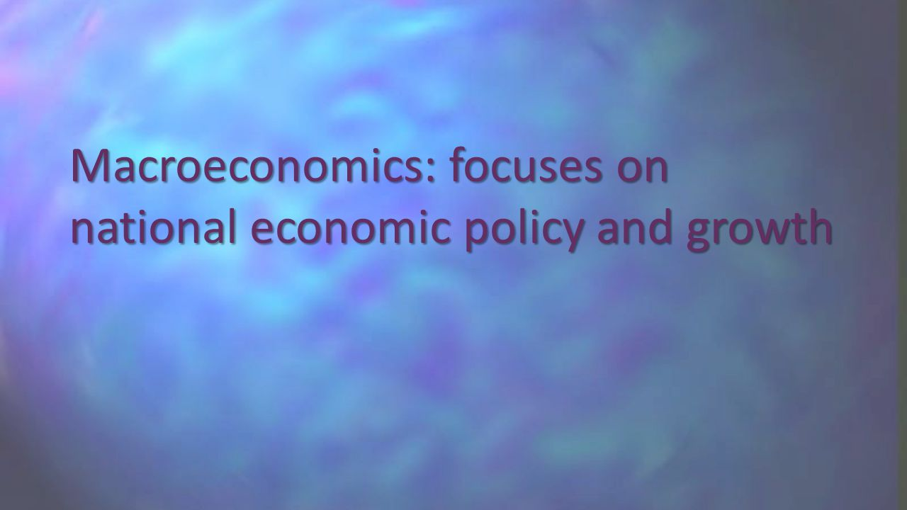 Macroeconomics: focuses on national economic policy and growth