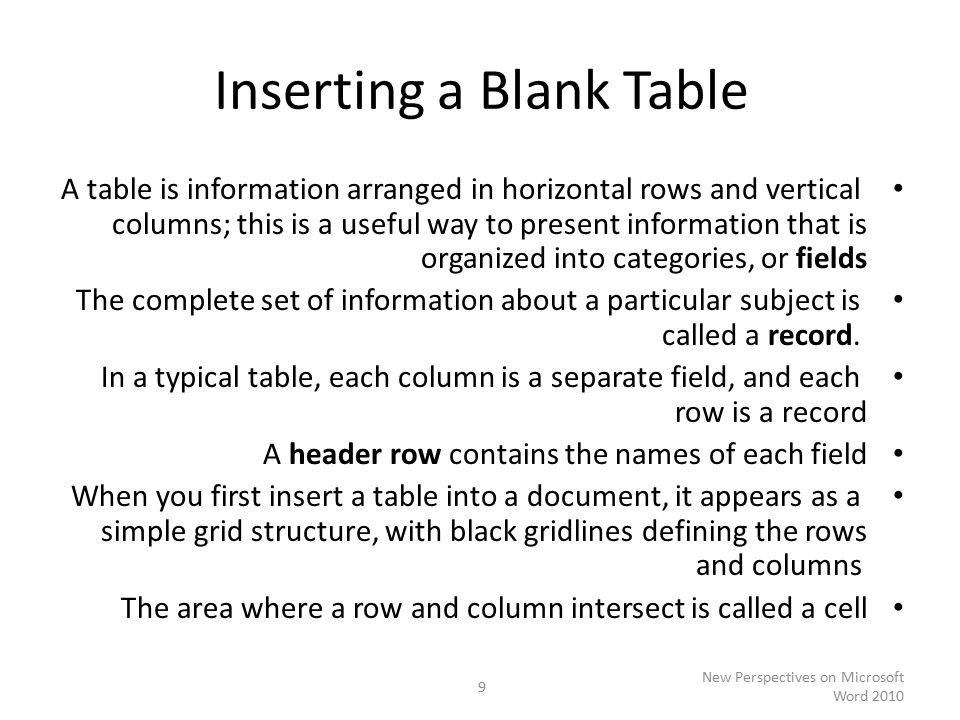 Inserting a Blank Table A table is information arranged in horizontal rows and vertical columns; this is a useful way to present information that is organized into categories, or fields The complete set of information about a particular subject is called a record.