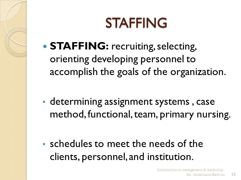 Introduction to management & leadership.. Dr. Abdalkarim Radwan12 STAFFING STAFFING: recruiting, selecting, orienting developing personnel to accompli