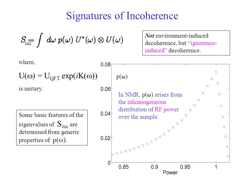 Signatures of Incoherence In NMR, p(  ) arises from the inhomogeneous distribution of RF power over the sample.