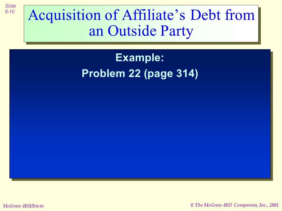 © The McGraw-Hill Companies, Inc., 2001 Slide 6-10 McGraw-Hill/Irwin Acquisition of Affiliate's Debt from an Outside Party Example: Problem 22 (page 314) Example: Problem 22 (page 314)