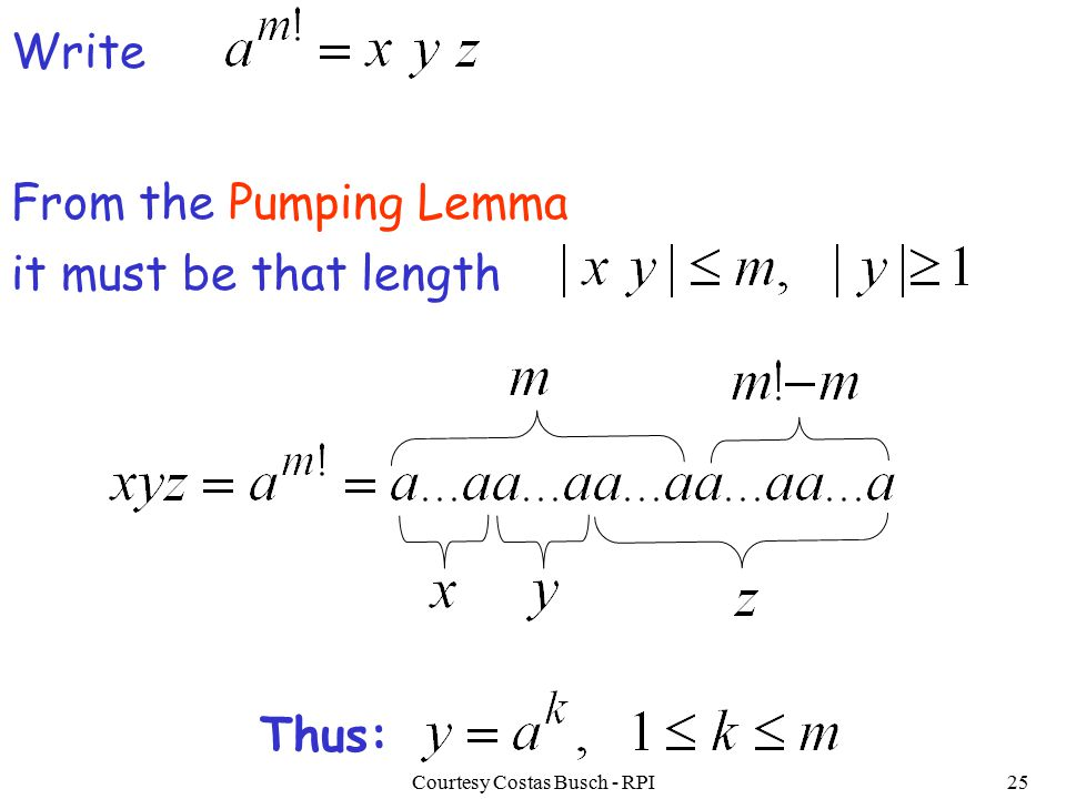 Courtesy Costas Busch - RPI25 Write it must be that length From the Pumping Lemma Thus: