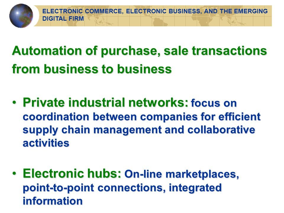 Automation of purchase, sale transactions from business to business Private industrial networks: focus on coordination between companies for efficient supply chain management and collaborative activitiesPrivate industrial networks: focus on coordination between companies for efficient supply chain management and collaborative activities Electronic hubs: On-line marketplaces, point-to-point connections, integrated informationElectronic hubs: On-line marketplaces, point-to-point connections, integrated information ELECTRONIC COMMERCE, ELECTRONIC BUSINESS, AND THE EMERGING DIGITAL FIRM