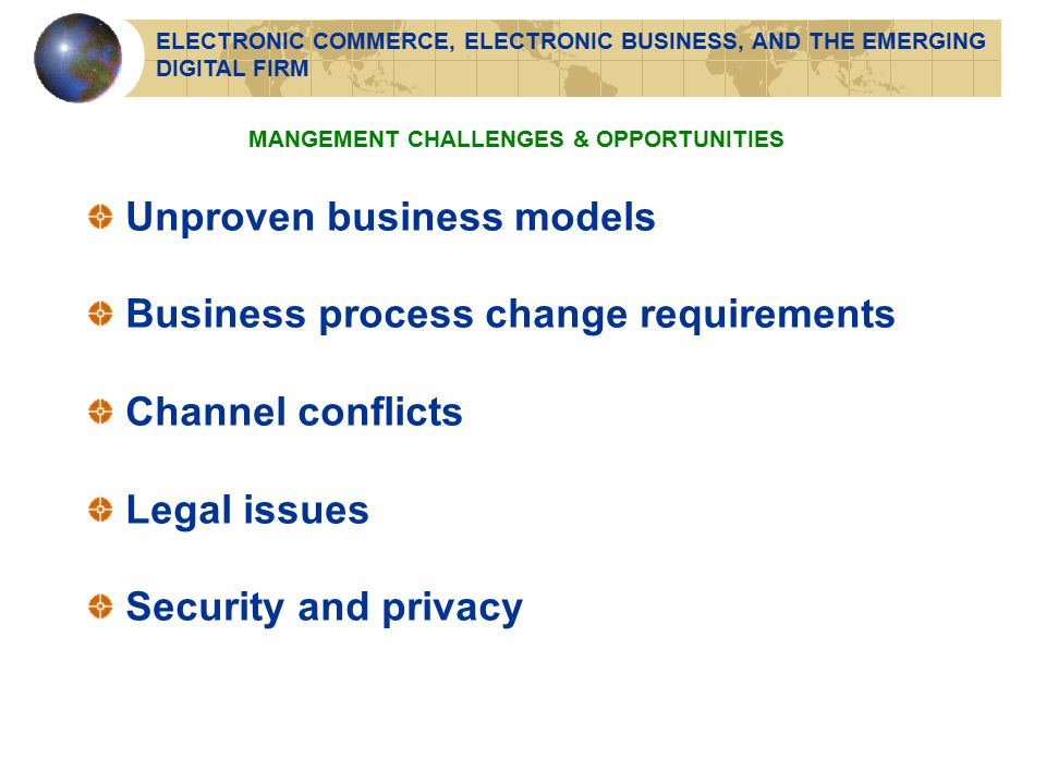 Unproven business models Business process change requirements Channel conflicts Legal issues Security and privacy MANGEMENT CHALLENGES & OPPORTUNITIES ELECTRONIC COMMERCE, ELECTRONIC BUSINESS, AND THE EMERGING DIGITAL FIRM