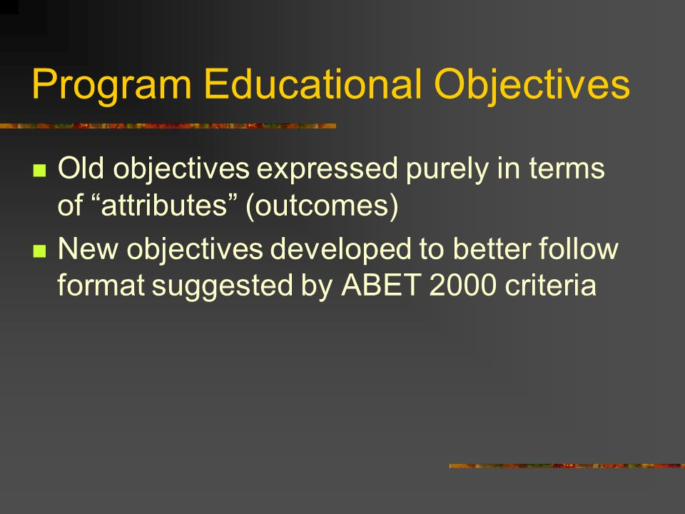 Program Educational Objectives Old objectives expressed purely in terms of attributes (outcomes) New objectives developed to better follow format suggested by ABET 2000 criteria