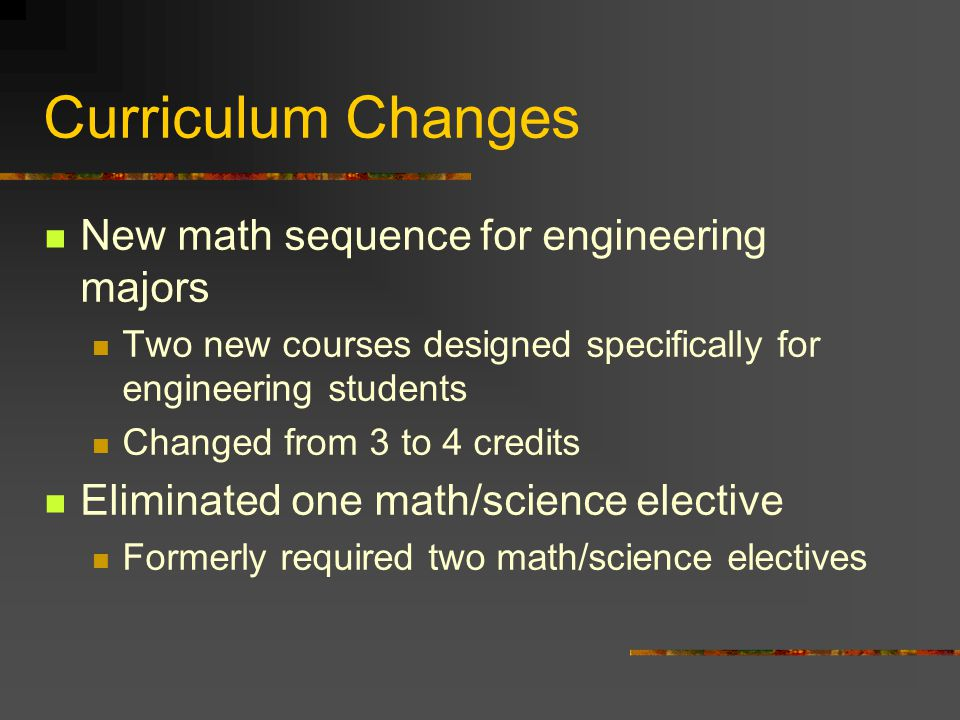 Curriculum Changes New math sequence for engineering majors Two new courses designed specifically for engineering students Changed from 3 to 4 credits Eliminated one math/science elective Formerly required two math/science electives