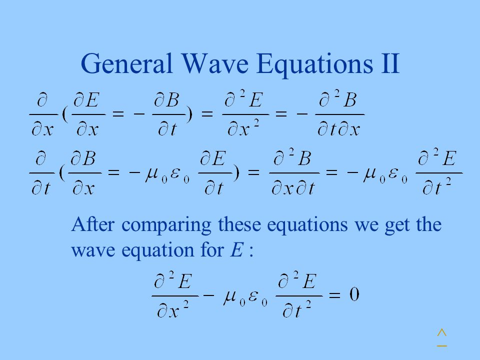 General Wave Equations II ^ After comparing these equations we get the wave equation for E :