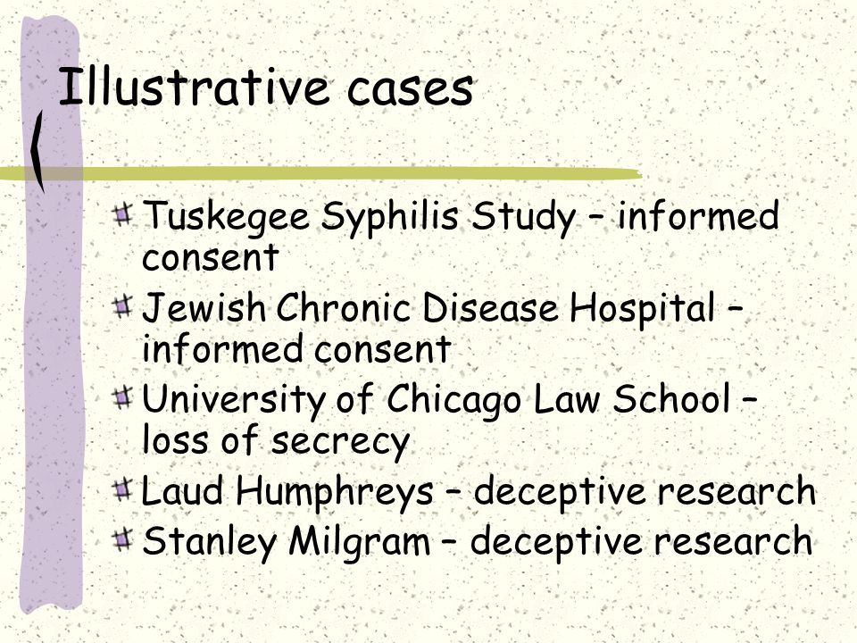 Illustrative cases Tuskegee Syphilis Study – informed consent Jewish Chronic Disease Hospital – informed consent University of Chicago Law School – loss of secrecy Laud Humphreys – deceptive research Stanley Milgram – deceptive research