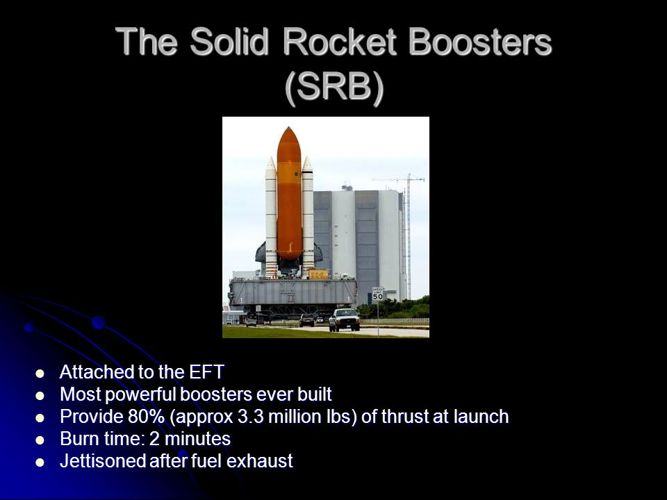 The Solid Rocket Boosters (SRB) Attached to the EFT Attached to the EFT Most powerful boosters ever built Most powerful boosters ever built Provide 80% (approx 3.3 million lbs) of thrust at launch Provide 80% (approx 3.3 million lbs) of thrust at launch Burn time: 2 minutes Burn time: 2 minutes Jettisoned after fuel exhaust Jettisoned after fuel exhaust