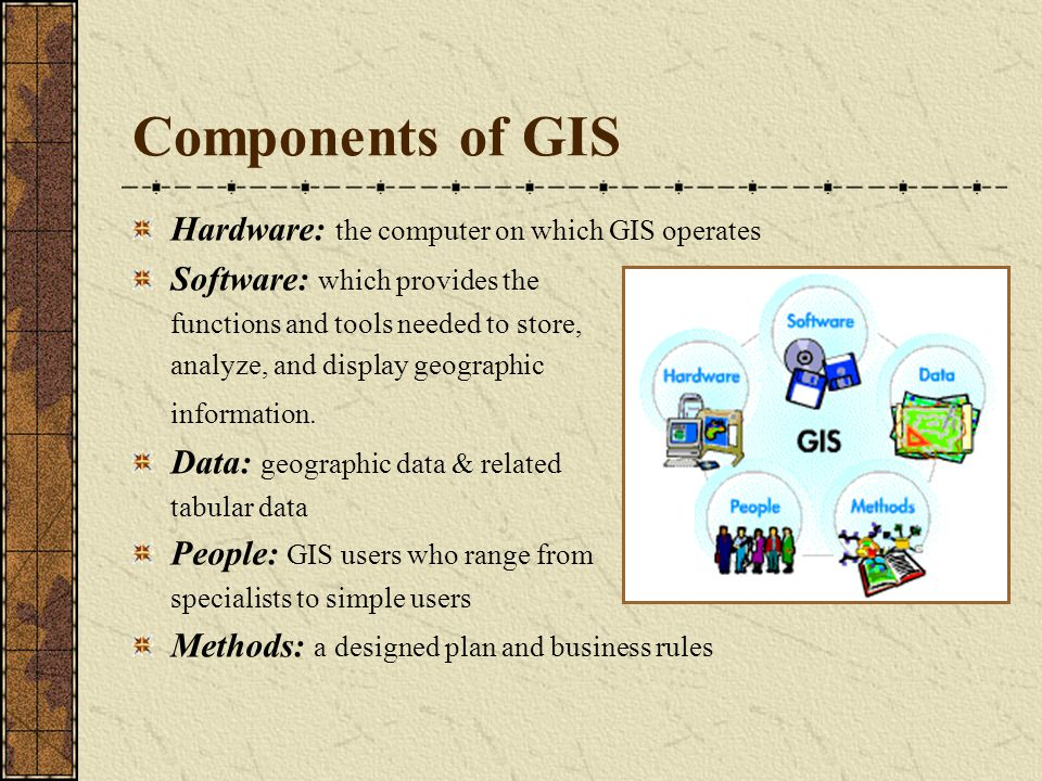 Components of GIS Hardware: the computer on which GIS operates Software: which provides the functions and tools needed to store, analyze, and display geographic information.